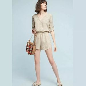 Cloth & Stone Tan Snake Print 'Dahl' Romper small